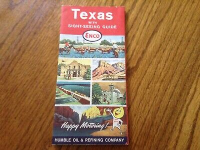 Texas Road Map  Humble Oil Enco 1961