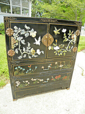 Antique Asian Chinese Black Lacquer Cabinet w/ Drawers, Stone Inlay - Beautiful!