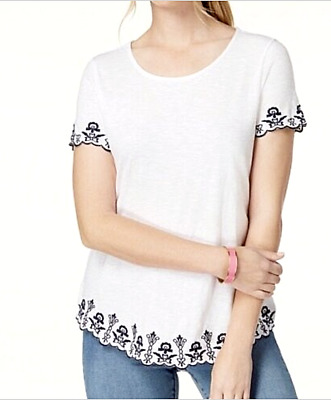 CHARTER CLUB New XL White Cotton Knit Top Navy Floral Embroidered T-shirt NWT