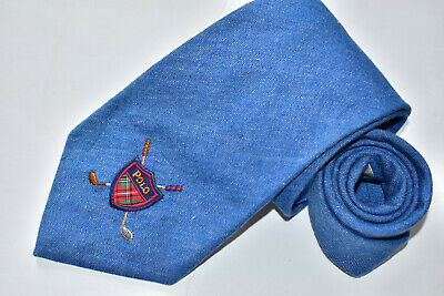 Men's Polo by Ralph Lauren Blue   100% Cotton    Neck Tie made in USA