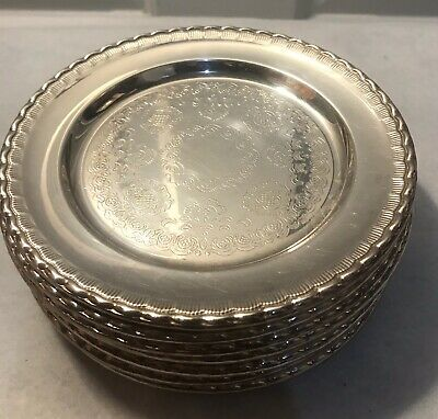 Set Of 11 Embossed Silverplate Bread and Butter Side Plates