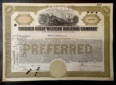 Chicago Great Western Railroad Co, 100 Preferred shares cert 1930