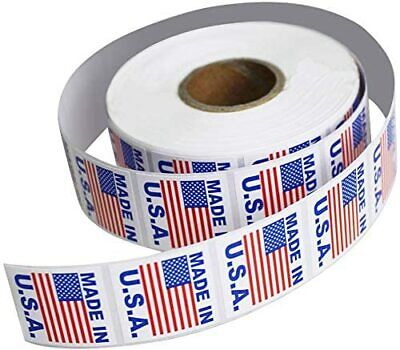 """Made in USA Pre-Printed Labels Stickers (1"""" x 1"""") ; 1000 Labels per Roll"""