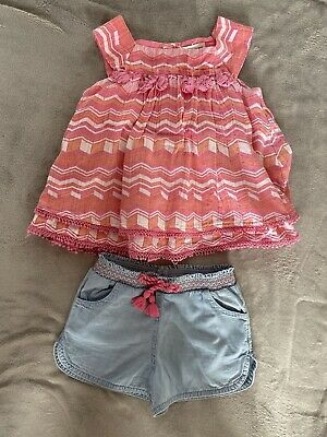 Artisan NY Girls Age 4-5 Years Pink Coral Top And Matching Shorts Outfit Set