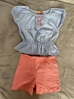 Penelope Mack Girls Age 5 Years Spanish Style Blue Top And Coral Shorts Outfit