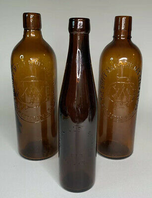 Lot of 3 Antique Amber Medicine Whiskey Bitters Bottles Millville Roschester NY