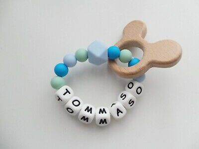 Personalised Teething Ring Sensory Toy Silicone Beads Natural Wood Teether Blue