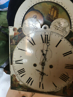 antique sun and moon rolling long case clock face and movement Postage available