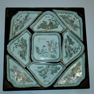 Qianjiang Chinese Porcelain Sweetmeat Tray Dishes With Painted Glasstop Box