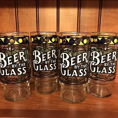 """Lot: 4 Beer by the Glass Set Barware Stained Glass Look 6"""" Drinking Glasses"""