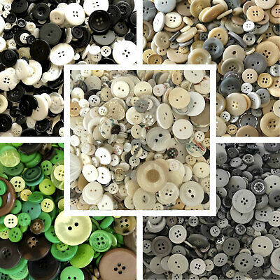 Buttons Black White Grey Green Cream  Mixed Sizes 70g