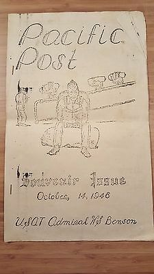 VTG 1946 USAT Admiral W.S. Benson PACIFIC POST PAPER Souvenir Issue US Military