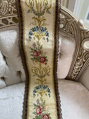 Vintage French Tapestry Weave Floral Velvet Metalwork Trim Bell Pull Pale Yello