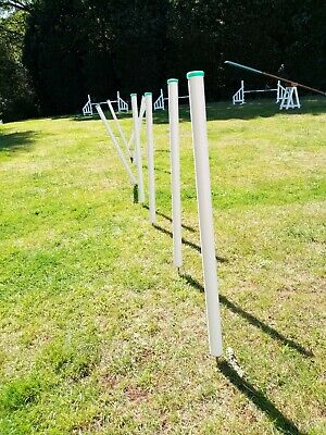 Dog agility 12 custom made weave weaving poles in stand