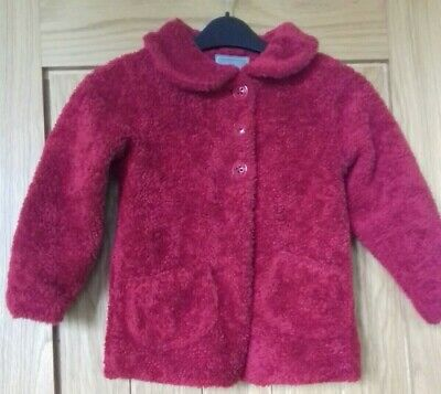 NEXT Red Furry Jacket To Fit Age 5-6 Years, Vgc