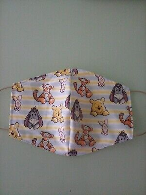 Adult Fabric cotton face mask homemade 3 layer Winnie the pooh washable