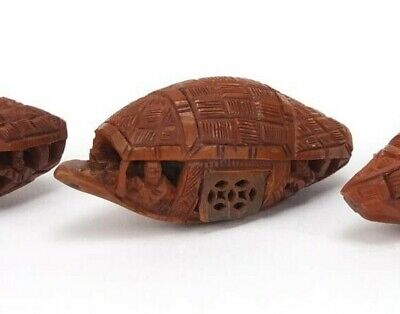 Vintage Chinese Finely Carved Coquilla Nut Boat. (b)