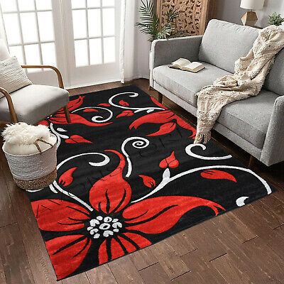 Black Red Modern Design Rug High Quality Thick Floral Rugs Runners Carpets Mat