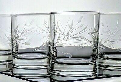 Double Old Fashioned Rocks Vintage Etched Lowball Glasses Barware Contemporary 4