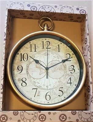 Old Map Style Wall Clock - 31 x 25 cm