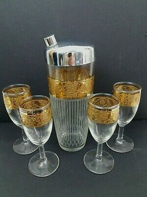 Vintage Mid Century Etched Cocktail Shaker Gold Encrusted 4 Matching Glasses
