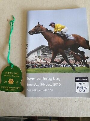 Epsom Derby Day 2010 Racecard w entrance badge WORKFORCE