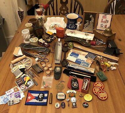 Large Vintage Collectables Job Lot House Clearence Badges Pens Stamps