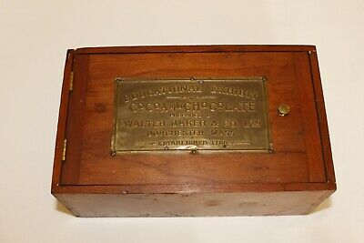Antique WALTER BAKER COCOA CHOCOLATE EDUCATIONAL EXHIBIT Box with Plaque
