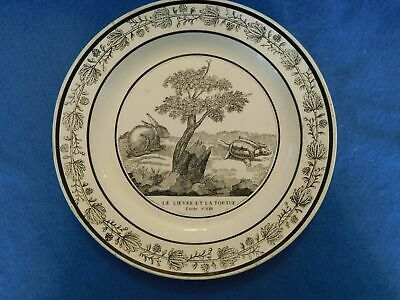 Antique Plate 19th C. Choisy-le-Roi Faience France Fable Tortoise  Hare