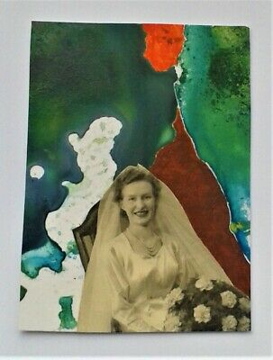 ACEO original collage and acrylic abstract No.2 by Janet R. signed/dated
