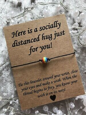 🌈 Socially Distanced Rainbow Bead Friendship Wish bracelet Gift Miss You 🌈