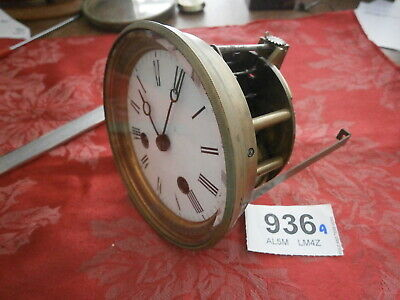 Clock MOVEMENT JAPY FRENCH, Hands, WHITE ENAMEL Dial & Bezel Good mantle spares