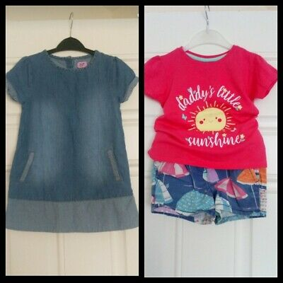 Girls Outfits Bundle Next Shorts, Primark Top And F&F Denim Dress 2-3 Years