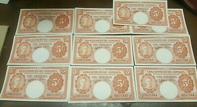 (10) CONSECUTIVE 1958 JAMAICA GOVERNMENT 5 SHILLINGS Notes**** UNCIRCULATED