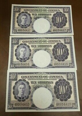 3 CONSECUTIVE 1958 JAMAICA GOVERNMENT 10 SHILLINGS Notes**** UNCIRCULATED