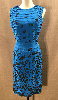 Vintage OSCAR DE LA RENTA Sleeveless Blue Black 100% Silk  Ruffle Dress Size 12