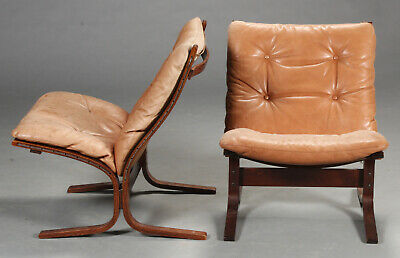 VINTAGE RETRO DANISH  TAN LEATHER LOUNGE CHAIR SET 1960's