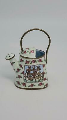 Empress Arts Enamel Miniature Watering Can White w/ Pink Flowers Copper Metal