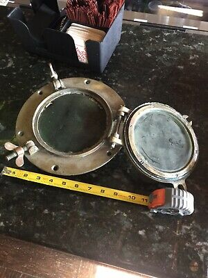 Antique Brass Porthole Hinged 9.75 Inch OD Nautical Marine Ship with Bug screen