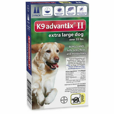 K9 Advantix II Flea & Tick Treatment for Extra Large Dogs over 55 lbs. 2 Pack