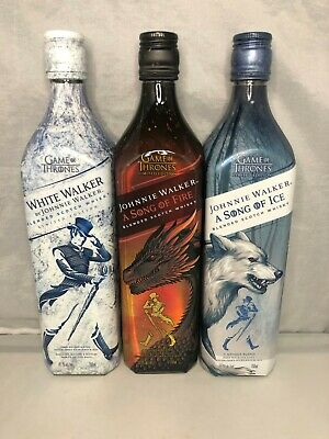 GAME OF THRONES Johnnie Walker Scotch Song of Ice & Fire/Wht Wlk 3 EMPTY BOTTLES