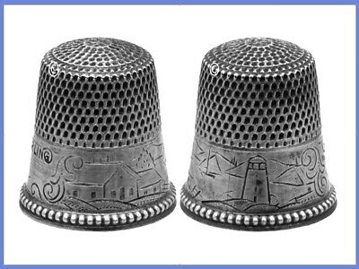 Lovely Sterling Silver Thimble with a ' Landscape Scene' *C.1880s
