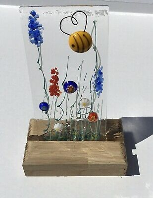 Unique Handmade Bright Cheerful Honey Bee Flower Meadow Fused Glass Sun Catcher