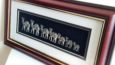 3D Silver Coloured Camels Set In Wood Frame Wall Art.