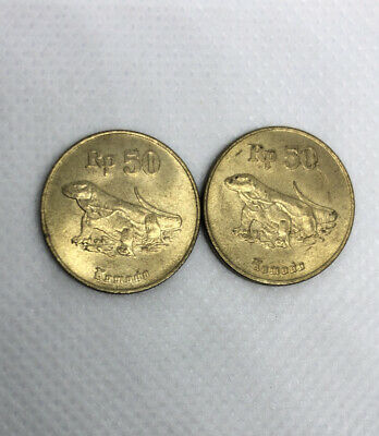 Lot Of 2 1996 Indonesia coin 50 Rp Komodo dragon classic coins