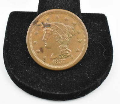 1857 Braided Hair Large Cent Small Date Coin Strong Detail In Protective Carrier