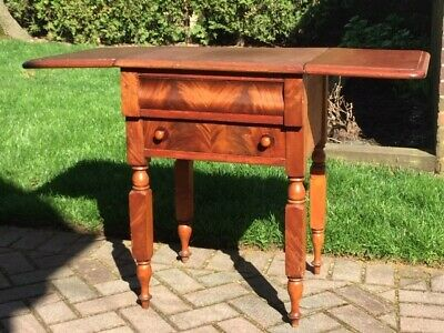 Antique Double Drawer Drop Leaf Side Table / Night Stand Wood