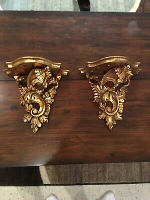 Fabulous Pair Antique Vintage Large Carved Wood Gold Gilt Wall Shelves Italian!