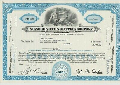 Charles Boyer Issued Signode Steel Strapping Company Stock Certificate