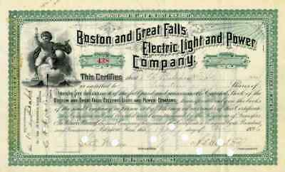 1896 Boston & Great Falls Electric Light & Power Stock Certificate